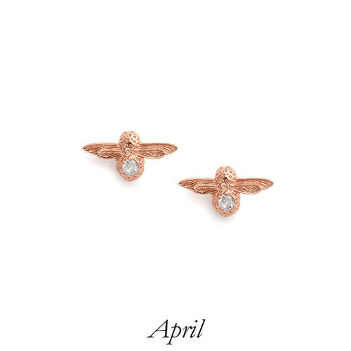 Olivia Burton Bee Stud Earrings Rose Gold and White Topaz