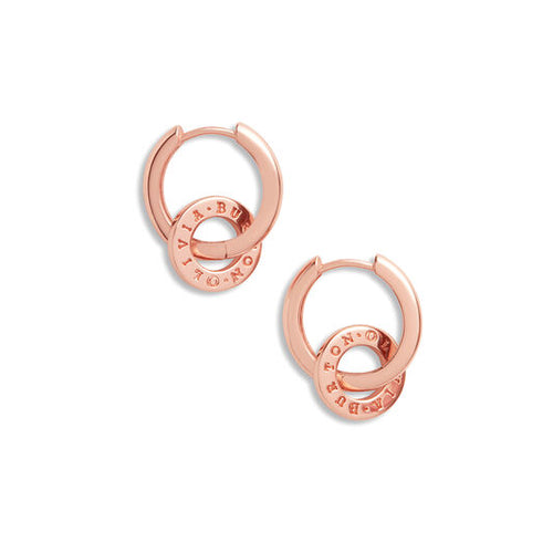 Olivia Burton Interlink Huggies Rose Gold Earrings