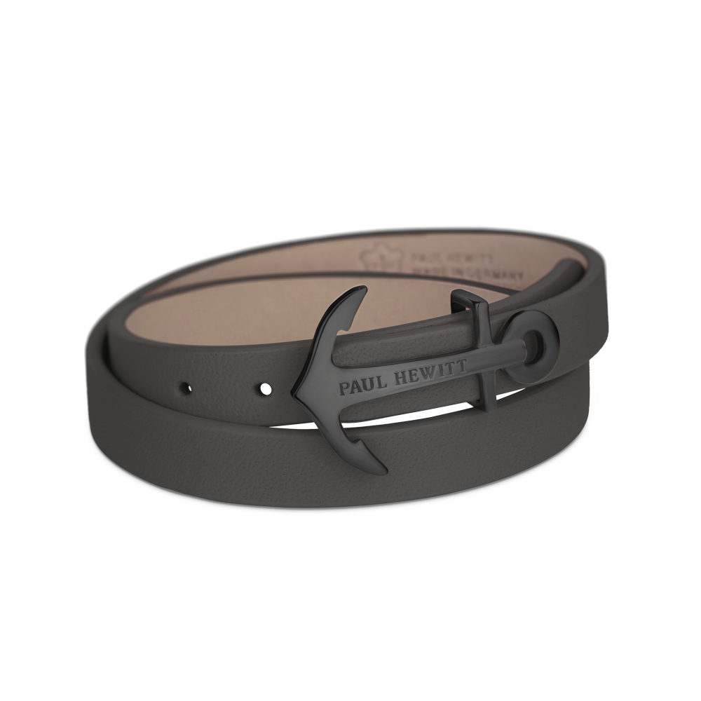 Paul Hewitt Northbound black leather bracelet, black anchor