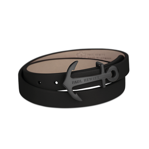 Paul Hewitt Northbound black leather bracelet
