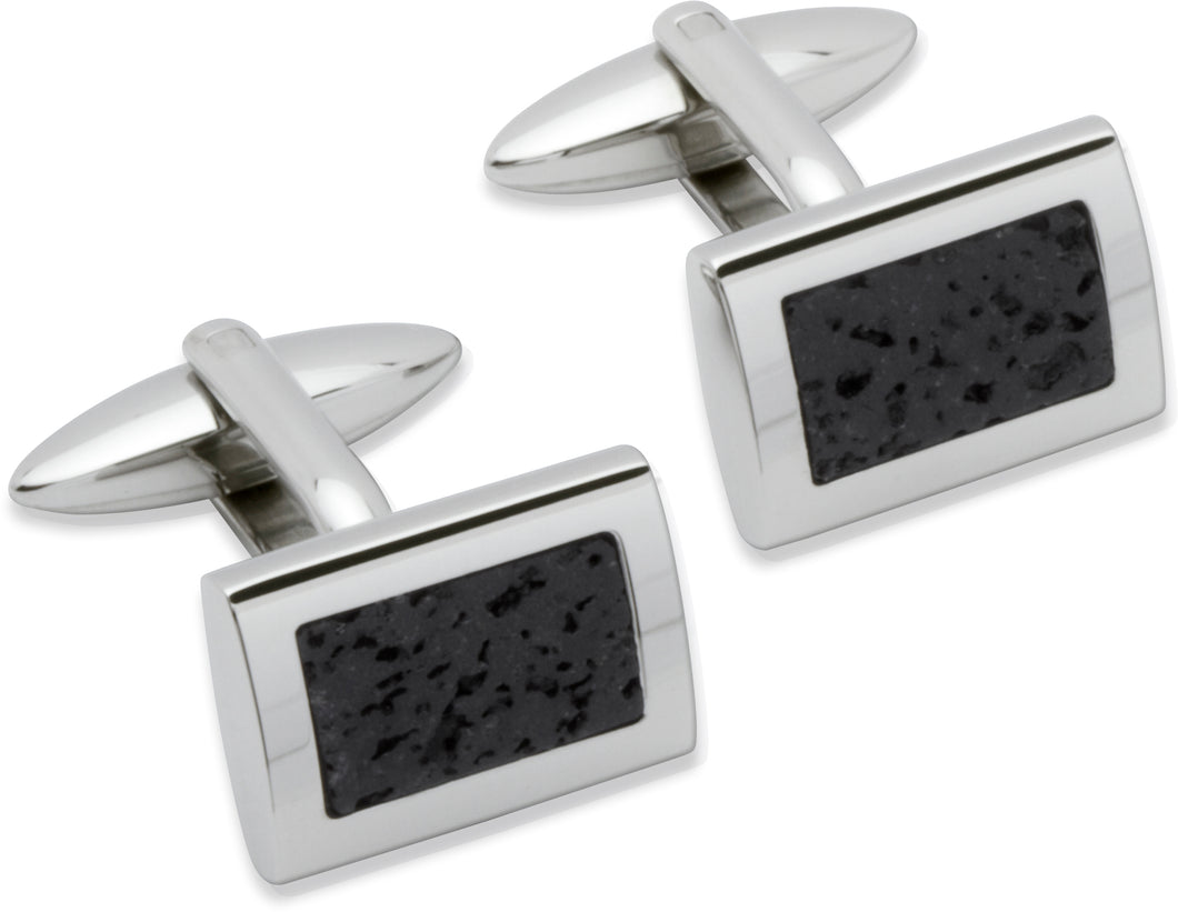 Unique & Co Stainless Steel Lava Rock cufflinks