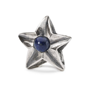 A star shaped silver bead, a collectable bead for a charm bracelet or necklace, lapis lazuli