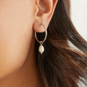 Annie Haak Pearl Drop Hoop Earrings