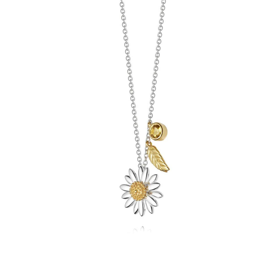 Daisy Feather Drop Necklace