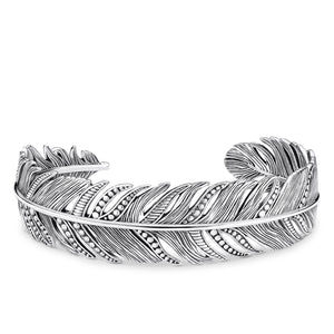 Thomas Sabo silver feather cuff bangle