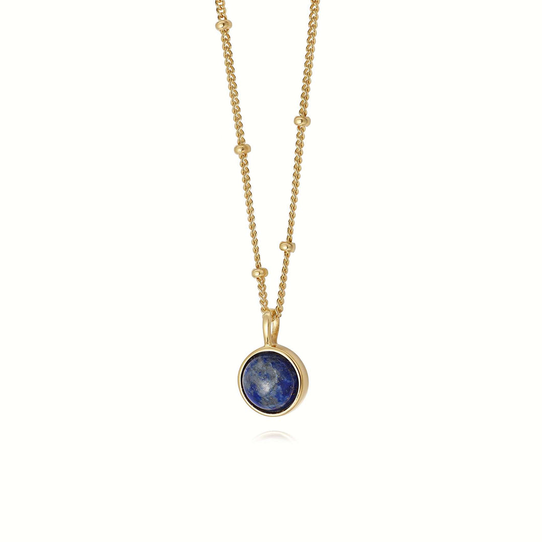 Daisy Lapis Healing Stone Necklace Gold Plated