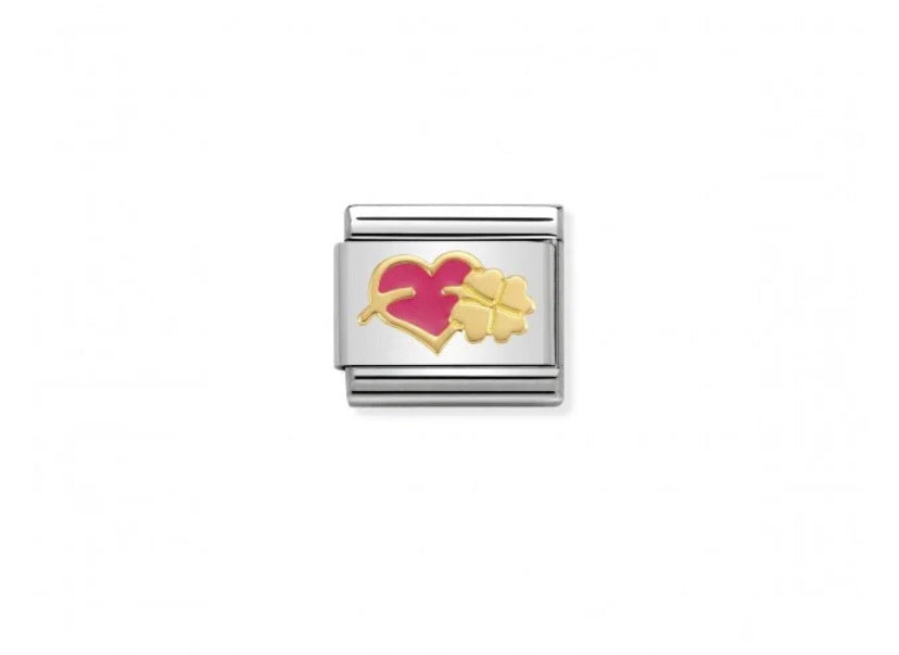 Nomination classic link 18ct gold Pink Heart and clover