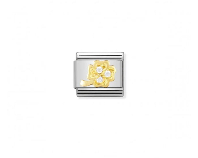 Nomination classic link 18ct gold CZ clover