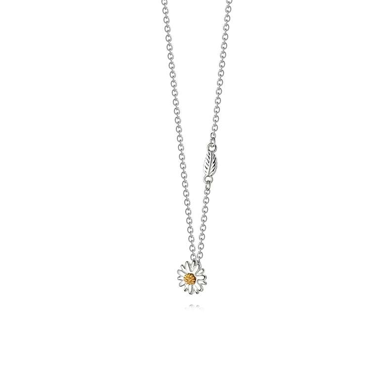 Daisy English Daisy and Leaf Necklace