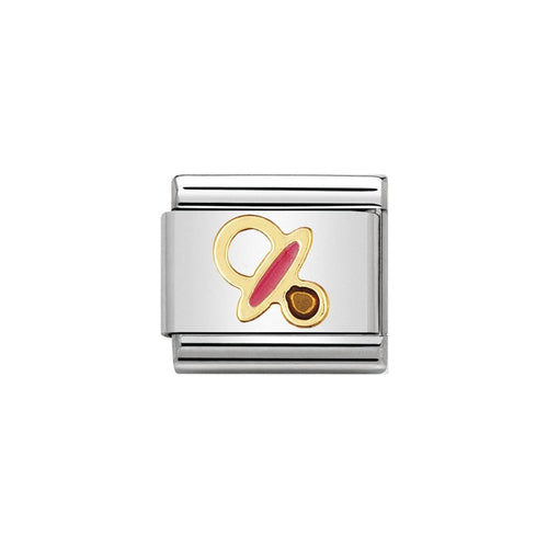 Nomination Classic 18ct Gold and Pink Dummy link
