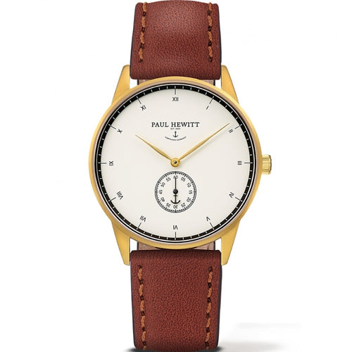 Paul Hewitt Signature 38mm, gold plated, leather bracelet, white face Watch