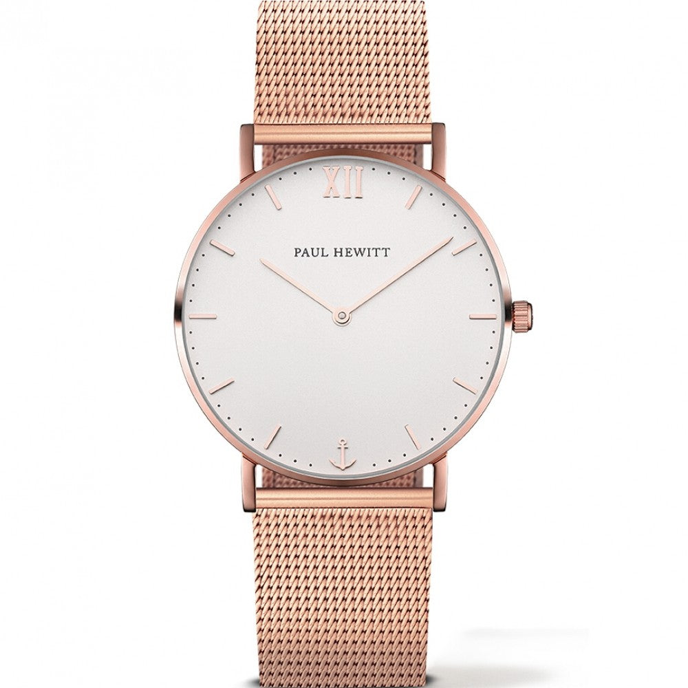 Paul Hewitt Sailor 39mm, rose gold plated, mesh bracelet white face watch