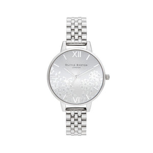 Olivia Burton Bejewelled Lace Silver Watch