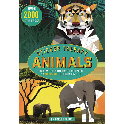 Sticker Therapy Animals: 12 Meditative Sticker Puzzles (Advanced Sticker Book)