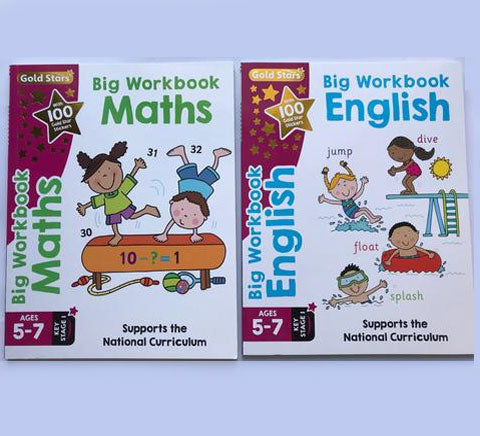 Set of 2 Gold Star English & Maths Big Workbook, For Kids Age 5-7 Year, Ks1, New