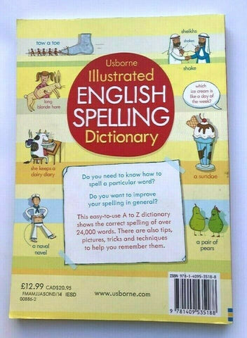 ks2 Usborne Illustrated English Spelling Dictionary Over 24,000 Words Age 9+