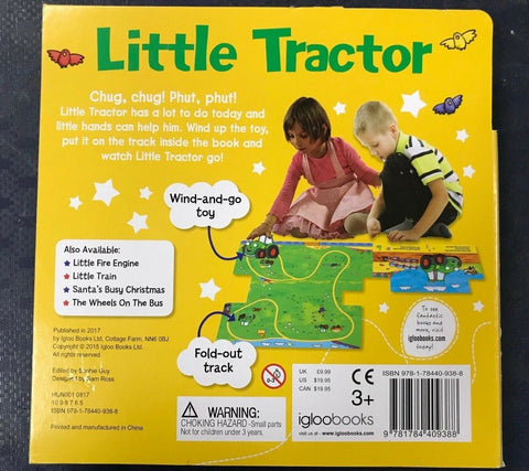 Little Tractor Mode Of Transport Wind-up Toy Book Ages 2+