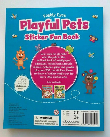 Playful Pets Sticker Fun Book Over 250 Stickers Wobbly Eyes Ages 3+