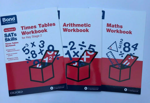 Bond Ks2 Maths Times Table & Arithmectic Workbooks Pack Ages 9-10
