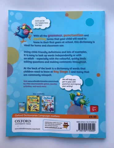 KS1 Oxford First Grammar Punctuation & Spelling Dictionary Kids Ages 5-7 Year Like New