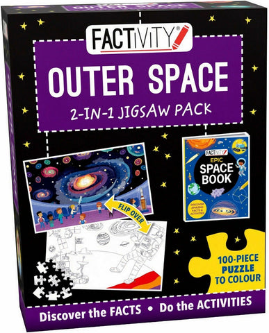Factivity Outer Space 2 In 1 Jigsaw Puzzle & Activity Pack