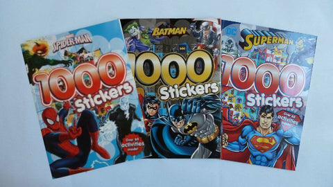 1000 Stickers Batman Superman & Spiderman Set of 3 Sticker Book