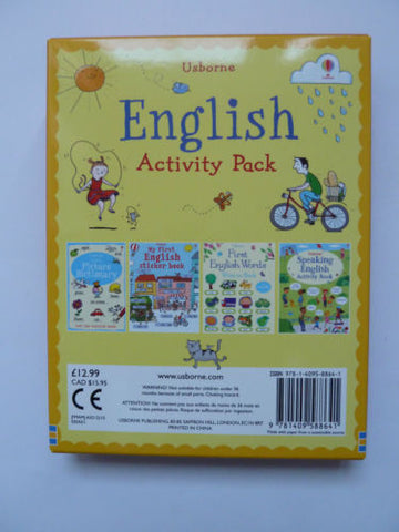 Usborne Learning English Sticker Pack of 4 Activity Books Children Ages 3 XMAS