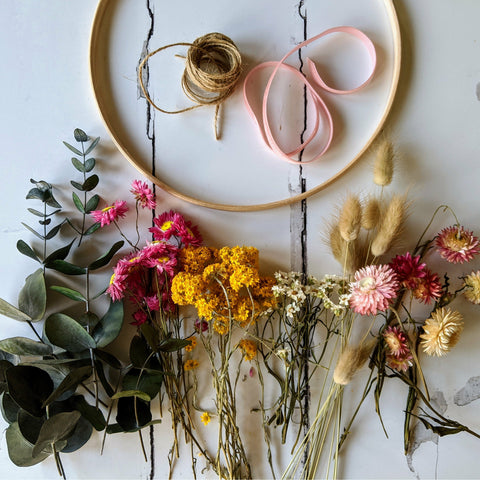 Dried Flower Wreath Making Kit {Brights}