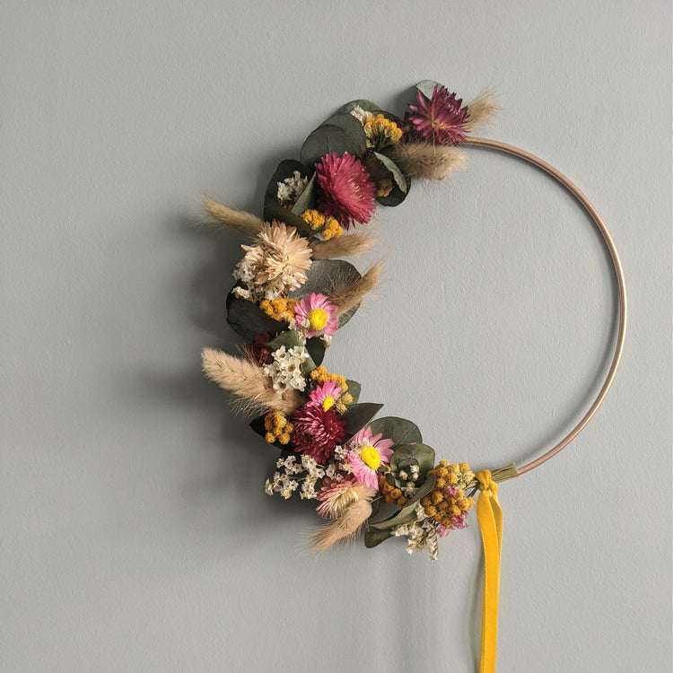 Dried Flower Wreath {Eucalyptus Brights}