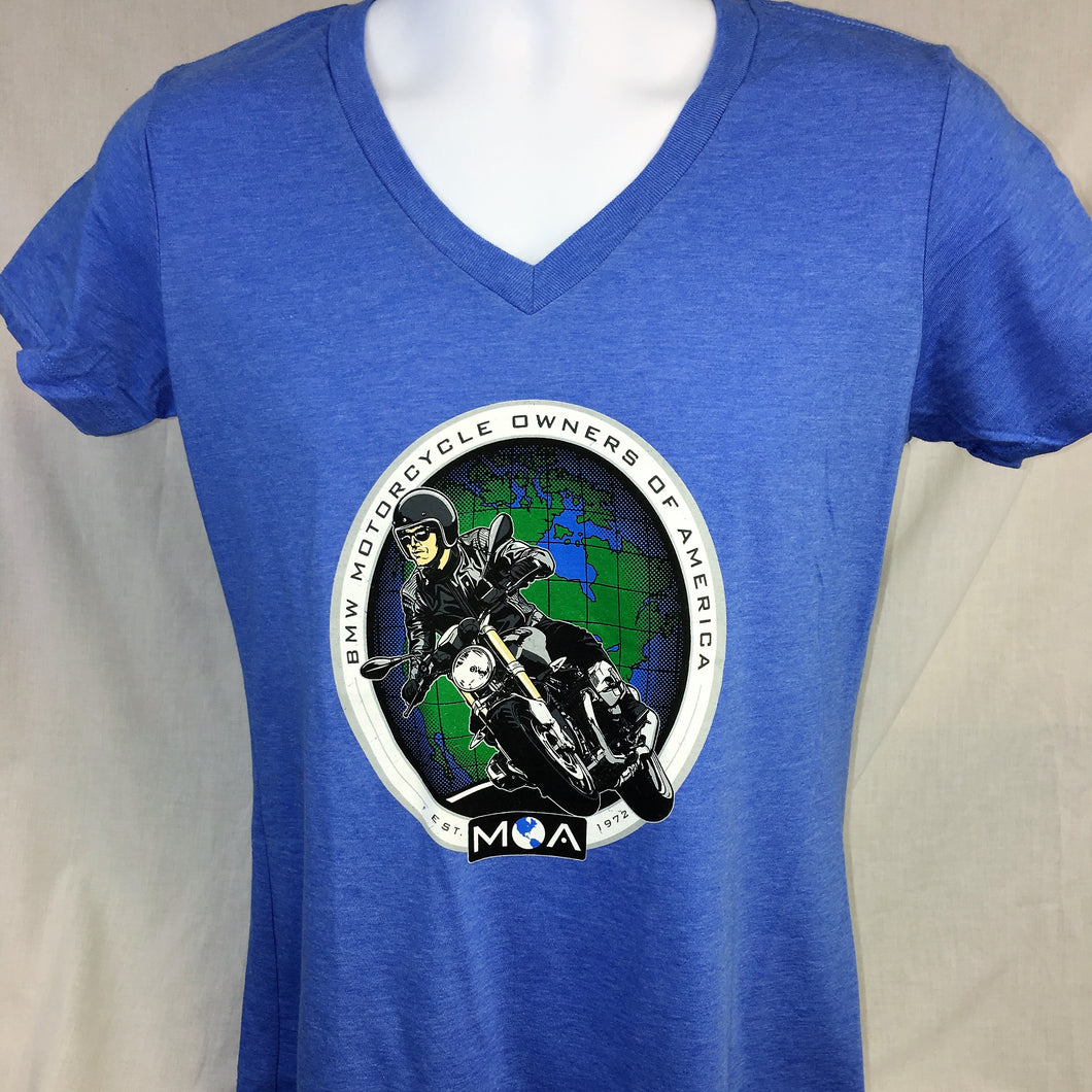 Ladies R Nine T V Neck T-Shirt in Blue or White