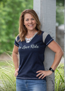Ladies Lace-Up Live Love Ride Tee