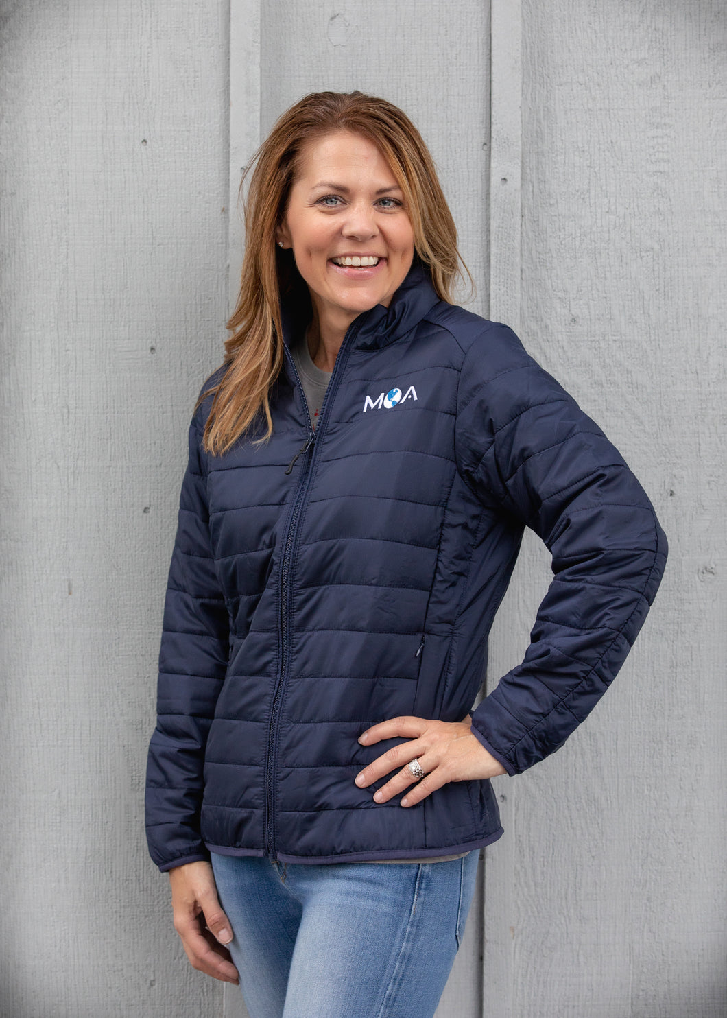 Ladies Navy Prevail Packable Jacket