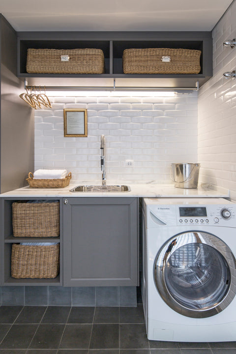 tiled laundry room