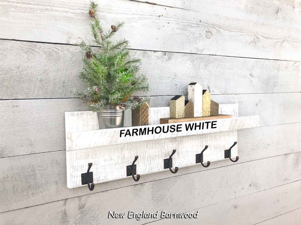 Farmhouse White coat rack with shelf