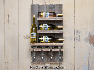 Rustic wall mount wine rack