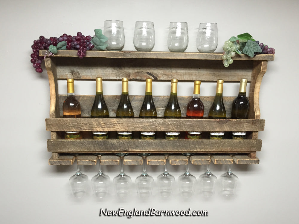 Farmhouse Style 8 Bottle Wine Rack With Wine Glass Holders