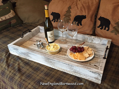 rustic wooden ottoman tray