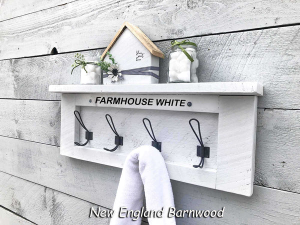 Rustic Farmhouse Wall Mounted Entryway Coat Rack with Shelf