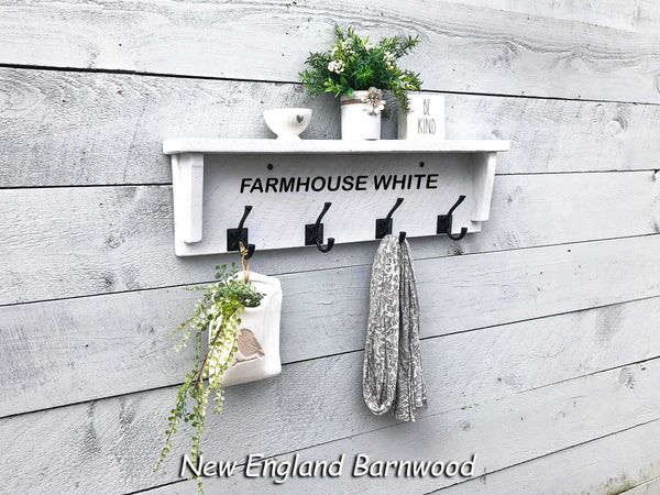 rustic farmhouse entryway shelf with hooks