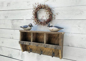rustic farmhouse entryway cubby shelf with coat hooks