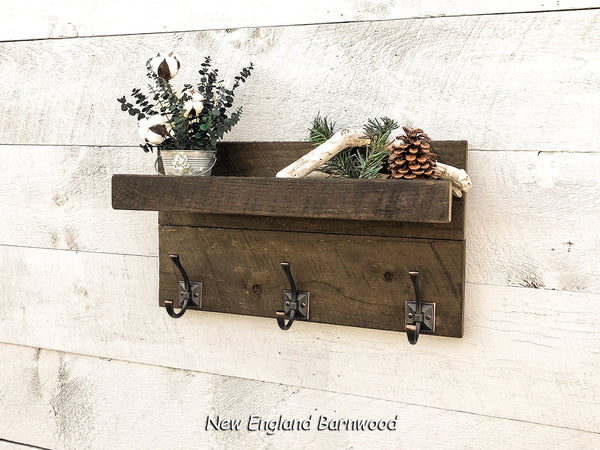 Rustic Bathroom Organizer Shelf with Towel Hooks, Entryway Organizer Wall Mount Shelf with Coat Hooks