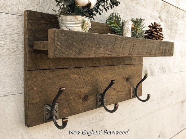 Rustic Coat Rack Wall Mount with Shelf