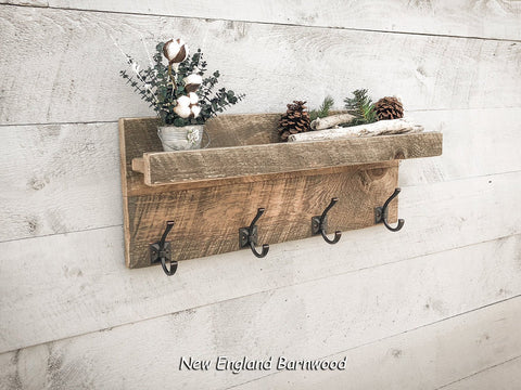 Rustic Farmhouse Style Wall Mount Entryway Coat Rack with Shelf, Vintage Style Entryway Coat Rack with Shelf