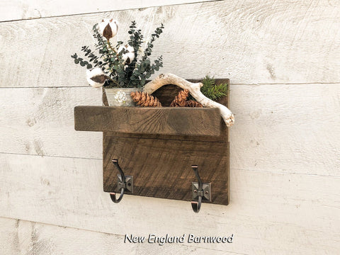 Rustic Bathroom Organizer Shelf with Towel Hooks