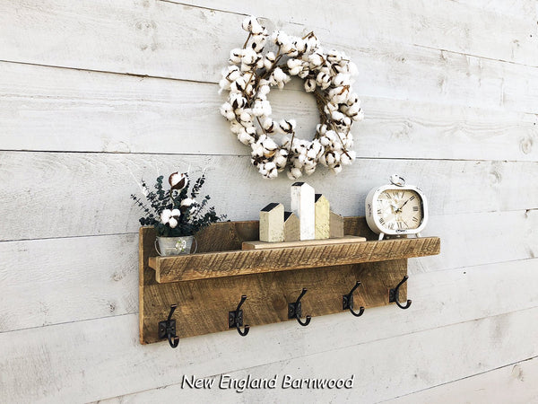 Rustic Coat Rack Organizer with Shelf
