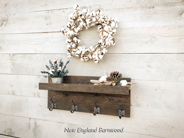 Rustic shelf with Coat Hooks