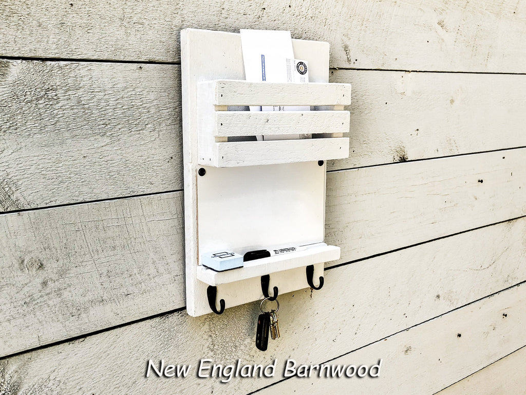Rustic Wall Mount Mail Organizer Message Center New England Barnwood