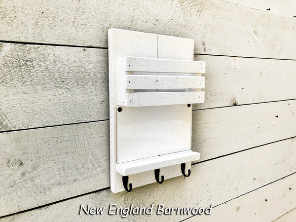 Wooden Wall Mount Mailbox Entryway Organizer