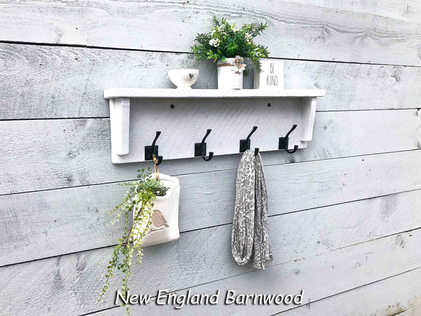 farmhouse entryway shelf with hooks