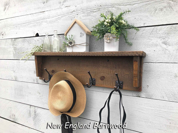 Entryway Coat Rack with Shelf, Bathroom Towel Rack with Shelf, Farmhouse Wall Mounted Coat Rack With Shelf, Wood Bathroom Shelf with Hooks